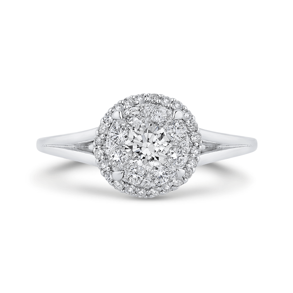 14K White Gold Round Diamond Ring with Split Shank|***Complete Ring Ring LUMINOUS