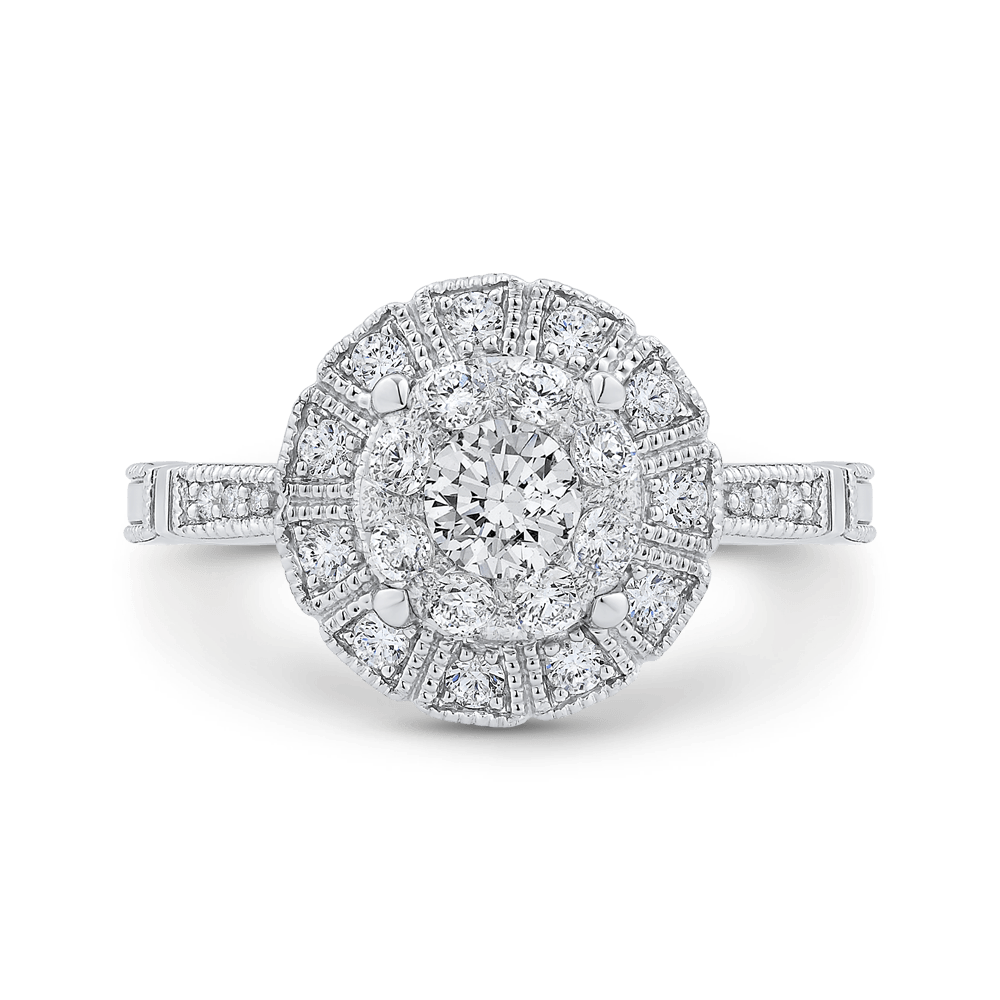 14K White Gold Round Diamond Halo Ring|***Complete Ring Ring LUMINOUS