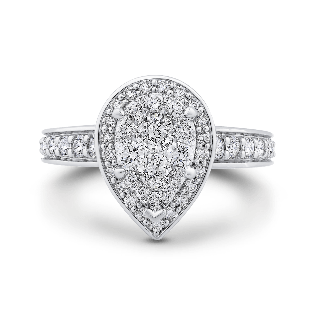 14K White Gold Round Diamond Pear Shape Halo Ring|***Complete Ring Ring LUMINOUS