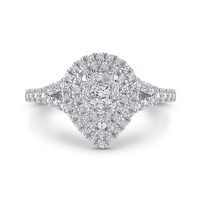 14K White Gold Round Diamond Pear Shape Double Halo Ring with Split Shank|***Complete Ring Ring LUMINOUS