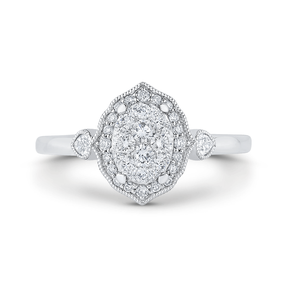 14K White Gold Round Diamond Oval Shape Halo Ring|***Complete Ring Ring LUMINOUS