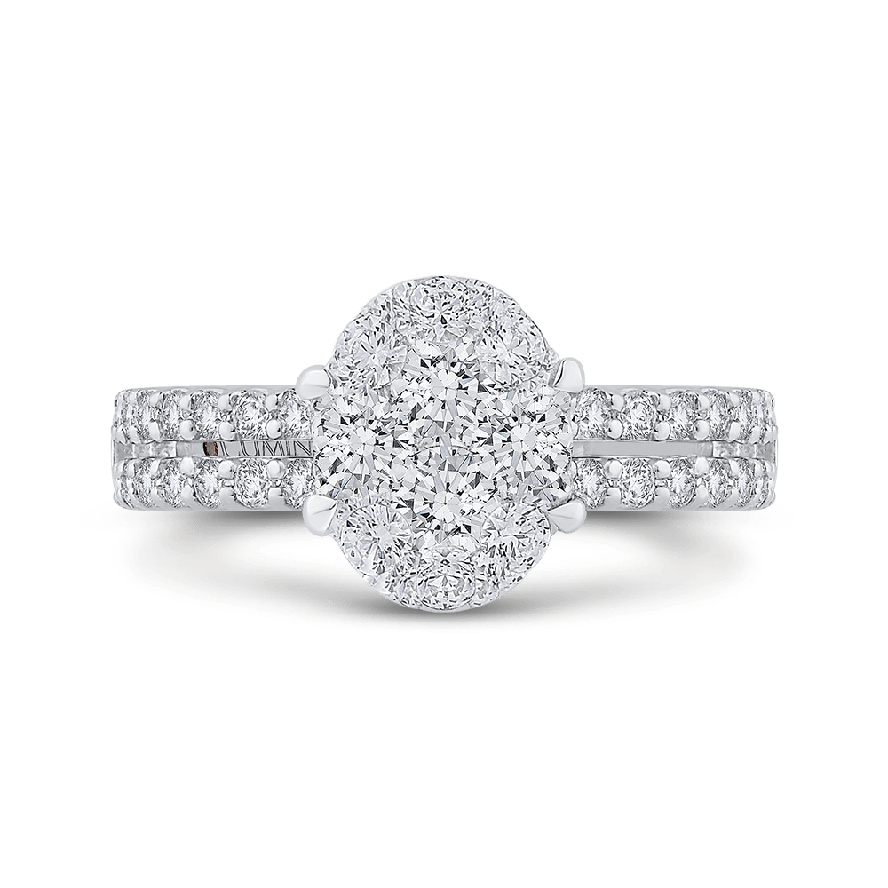 Round Diamond Ring In 14K White Gold|***Complete Ring Ring LUMINOUS