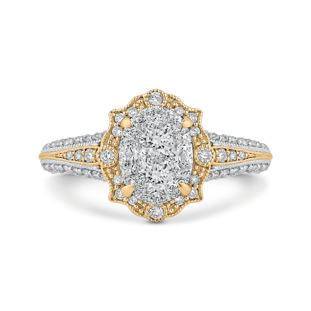 14K Two Tone Gold Round Cut Diamond Ring|***Complete Ring Ring LUMINOUS