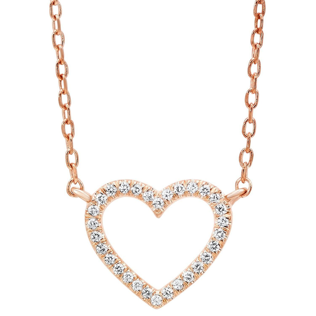 14k Rose Gold Diamond Heart Pendant Necklace BW James Jewelers