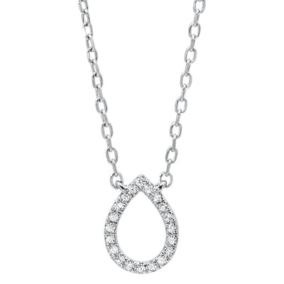 14k Diamond Pear Pendant Necklace BW James Jewelers