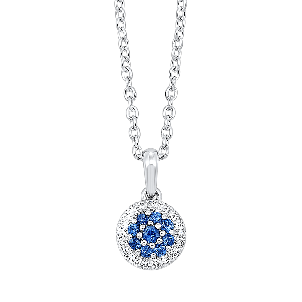 14K Diamond and Sapphire Pendant 1/5 gtw Pendant BW James Jewelers