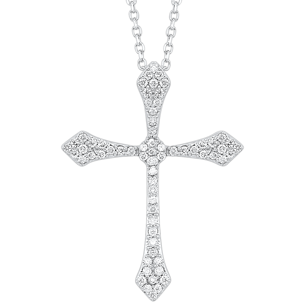 14KTW Diamond Cross Flyer Pendant 1/7Ct Pendant BW James Jewelers