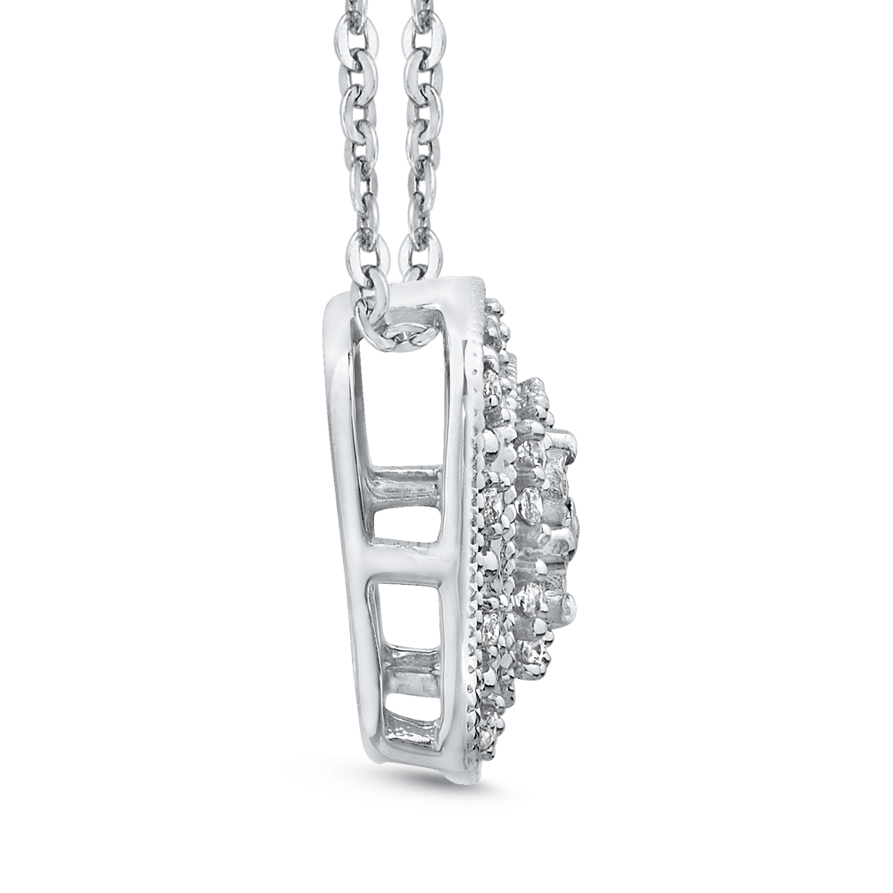 10K White Gold 1/5 Ct Diamond Fashion Pendant with Chain|***Complete Pendant Pendant LUMINOUS