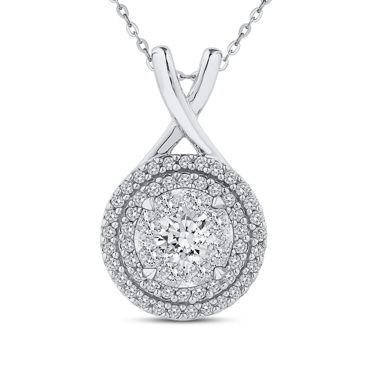 10K White Gold Round Diamond Double Halo Pendant with Chain|***Complete Pendant Pendant LUMINOUS