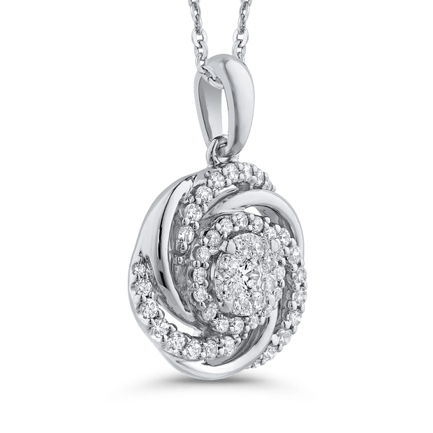 1/2 ct White Diamond 10K White Gold Swirl Fashion Pendant with Chain|***Complete Pendant Pendant LUMINOUS