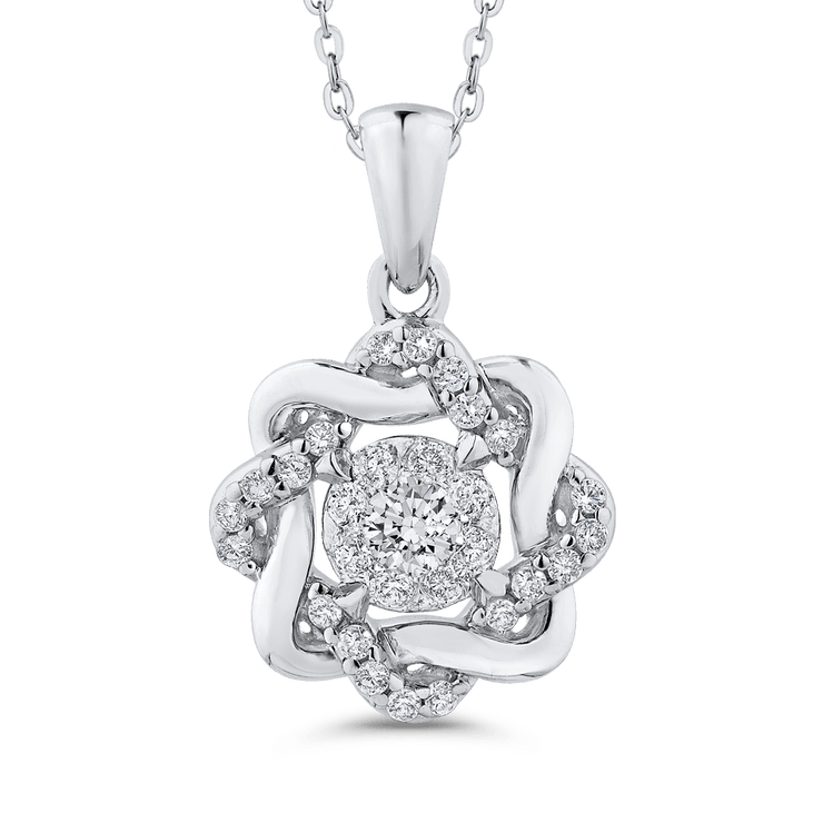 10K White Gold 1/4 Ct Diamond Fashion Pendant with Chain|***Complete Pendant Pendant LUMINOUS