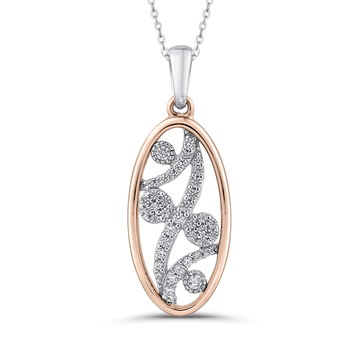 1/5 ct Round White Diamond 10K Two Tone Gold Fashion Pendant with Chain|***Complete Pendant Pendant LUMINOUS
