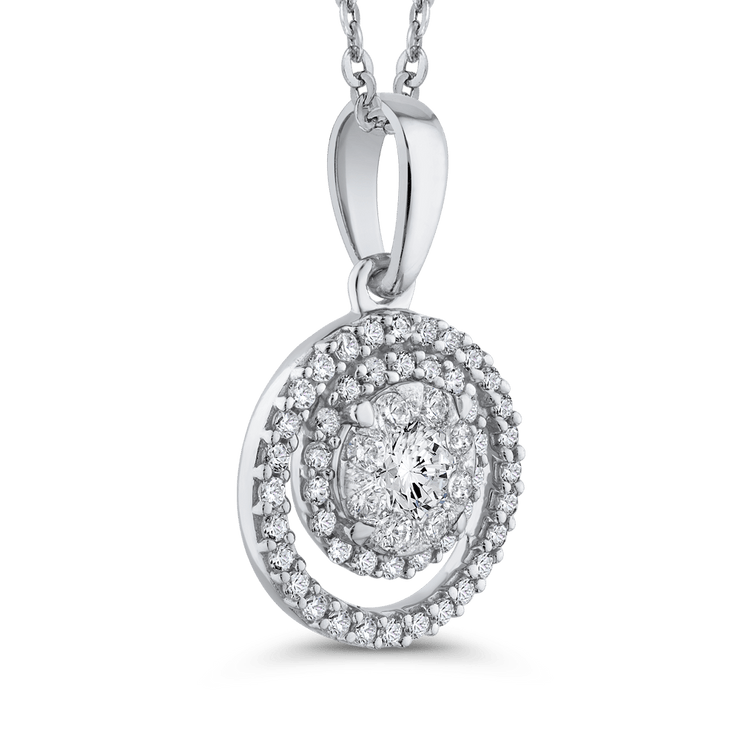 10K White Gold White Diamond Fashion Pendant with Chain (1/2 cttw)|***Complete Pendant Pendant LUMINOUS