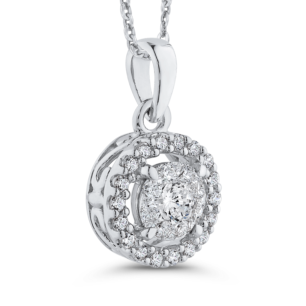 10K White Gold 3/4 ct Diamond Double Halo Pendant with Chain|***Complete Pendant Pendant LUMINOUS