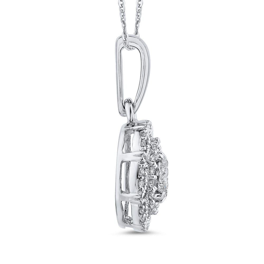 10K White Gold 1/3 ct White Diamond Fashion Pendant with Chain|***Complete Pendant Pendant LUMINOUS
