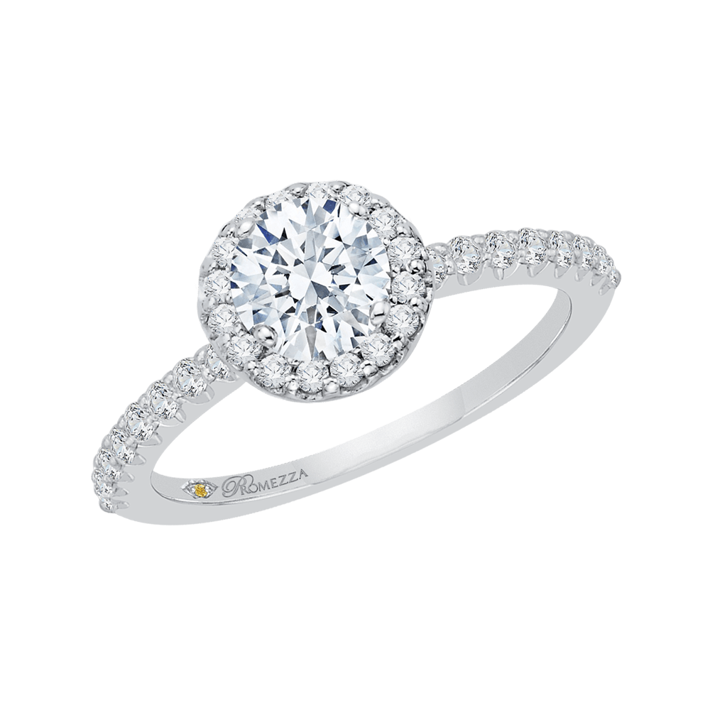 14K White Gold Round Cut Diamond Halo Engagement Ring Engagement Ring PROMEZZA