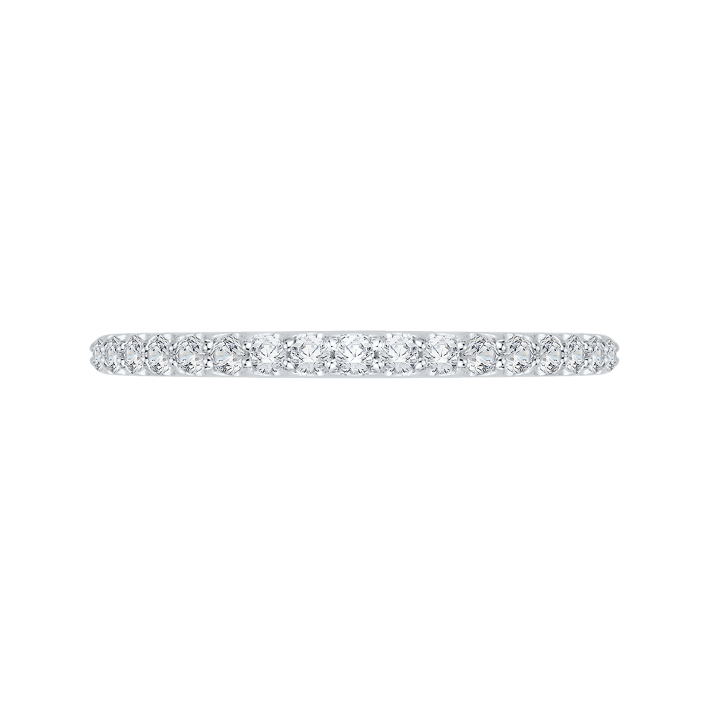 Round Diamond Half Eternity Wedding Band In 14K White Gold Wedding Band PROMEZZA