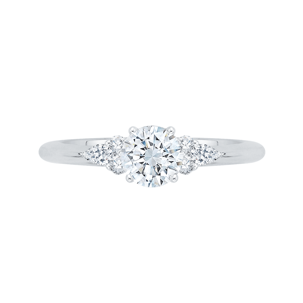 14K White Gold Round Diamond Engagement Ring Engagement Ring PROMEZZA