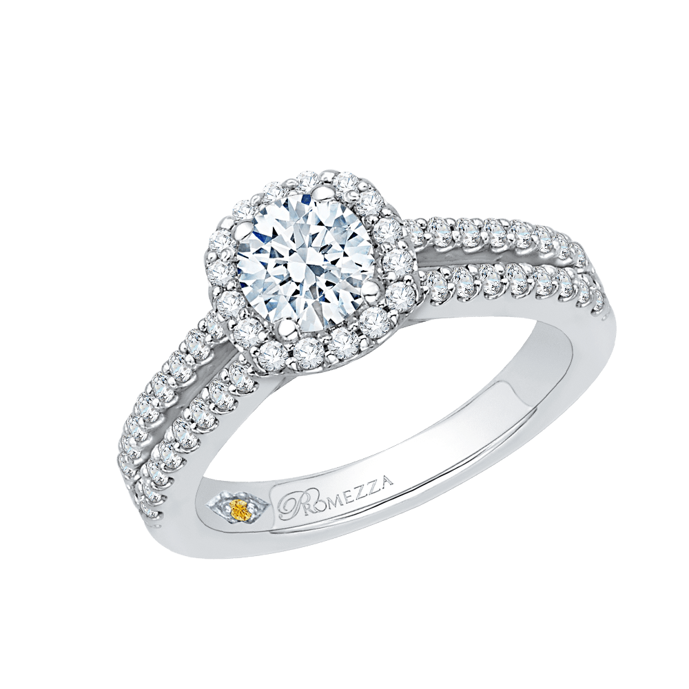 14K White Gold Split Shank Round Diamond Halo Engagement Ring|***Complete Ring Engagement Ring PROMEZZA