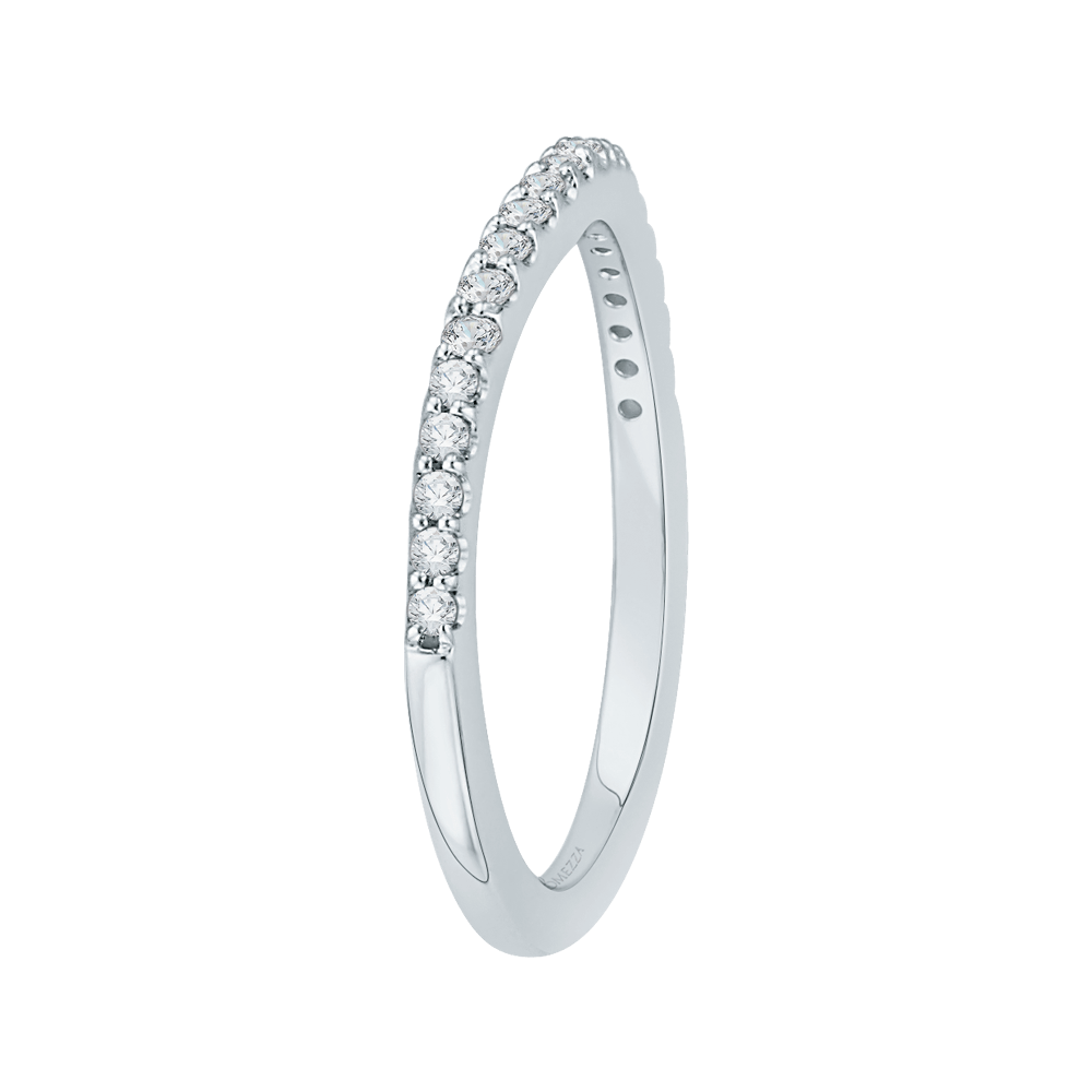 14K White Gold Round Diamond Half Eternity Wedding Band Wedding Band PROMEZZA