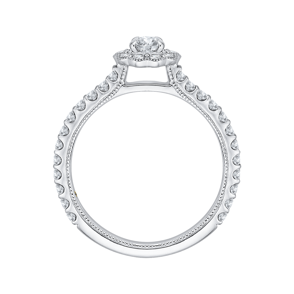 14K White Gold Round Halo Diamond Floral Engagement Ring|***Complete Ring Engagement Ring PROMEZZA
