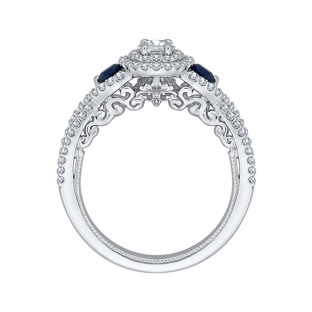 14K White Gold Round Cut Diamond And Sapphire Three-Stone Halo Engagement Ring Engagement Ring PROMEZZA