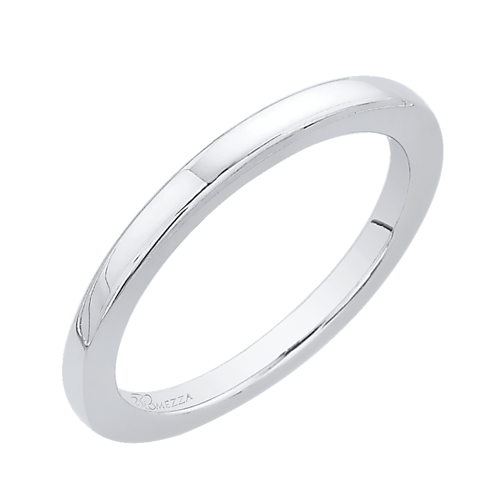 14K White Gold Plain Wedding Band Wedding Band PROMEZZA