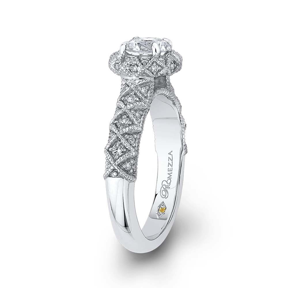 14K White Gold Round Diamond Floral Halo Engagement Ring Engagement Ring PROMEZZA