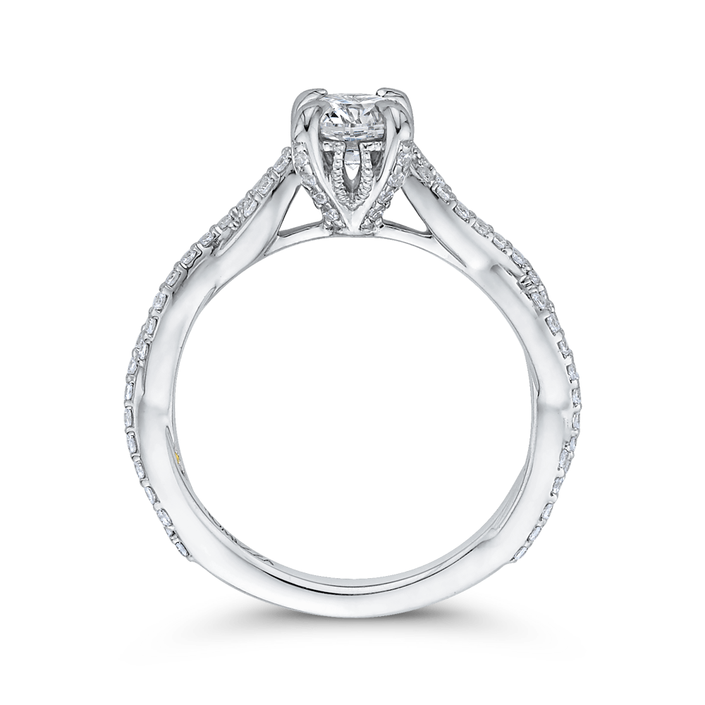 14K White Gold Round Diamond Engagement Ring with Crossover Shank Engagement Ring PROMEZZA