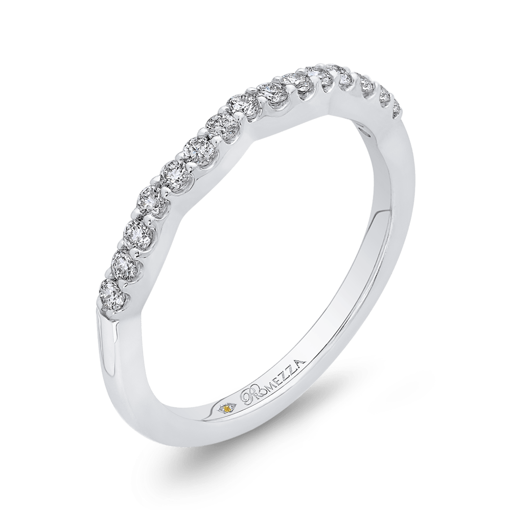 14K White Gold Round Diamond Wedding Band Wedding Band PROMEZZA