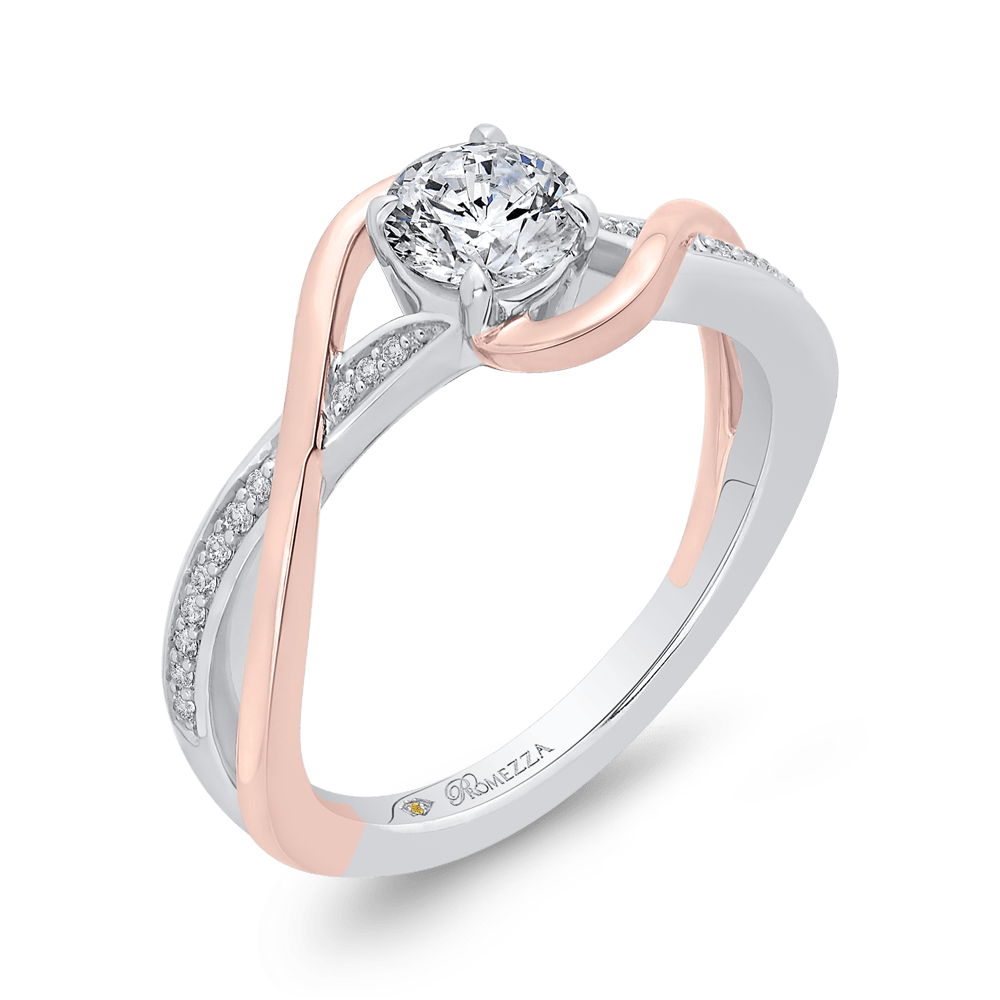 14K Two-Tone Gold Round Diamond Engagement Ring with Split Shank Engagement Ring PROMEZZA