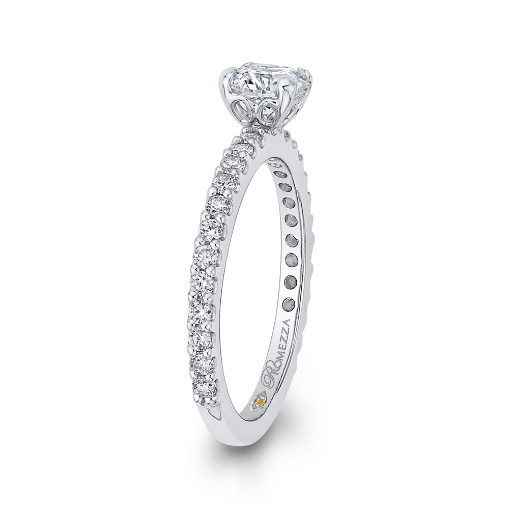 Round Diamond Engagement Ring In 14K White Gold Engagement Ring PROMEZZA