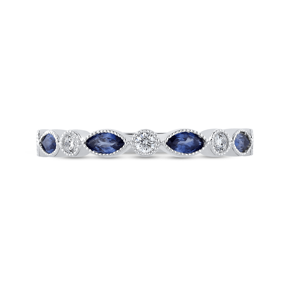 14K White Gold Round Diamond Wedding Band with Marquise Sapphire Wedding Band PROMEZZA