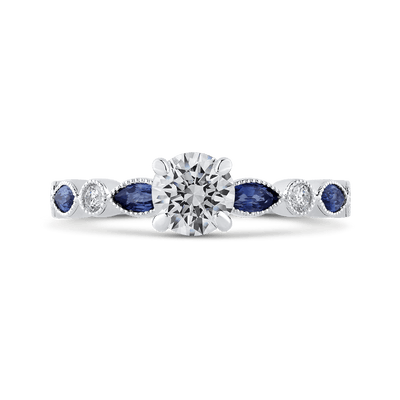 14K White Gold Round Diamond Engagement Ring with Pear Sapphire|***Complete Ring Engagement Ring PROMEZZA