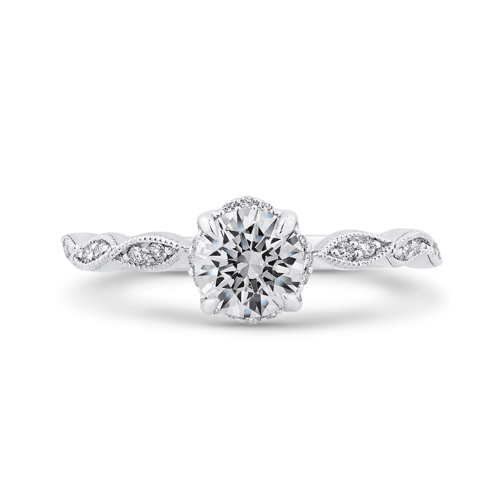 14K White Gold Floral Diamond Engagement Ring Engagement Ring PROMEZZA