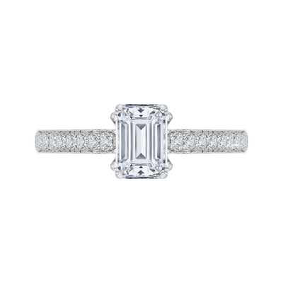 14K White Gold Emerald Cut Diamond Cathedral Style Engagement Ring|***Complete Ring Engagement Ring PROMEZZA