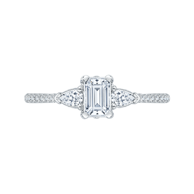 Emerald Cut Diamond Engagement Ring In 14K White Gold|***Complete Ring Engagement Ring PROMEZZA
