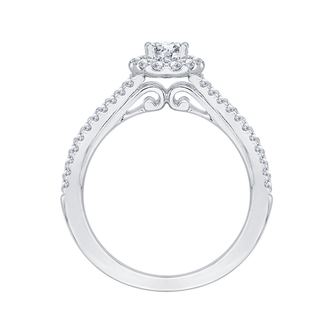 Image of 14K-White-Gold-Oval-Diamond-Halo-Engagement-Ring-with-Split-Shank