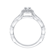 14K White Gold Oval Diamond Halo Engagement Ring|***Complete Ring Engagement Ring PROMEZZA