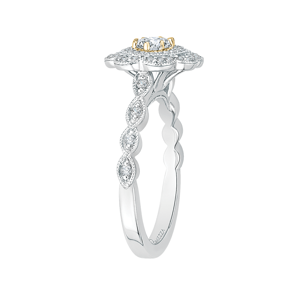 Oval Diamond Floral Halo Engagement Ring In 14K Two Tone Gold|***Complete Ring Engagement Ring PROMEZZA