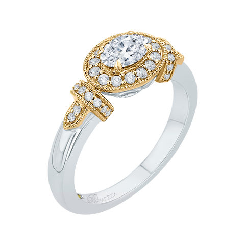 Image of 14K-Two-Tone-Gold-Oval-Diamond-Halo-Engagement-Ring