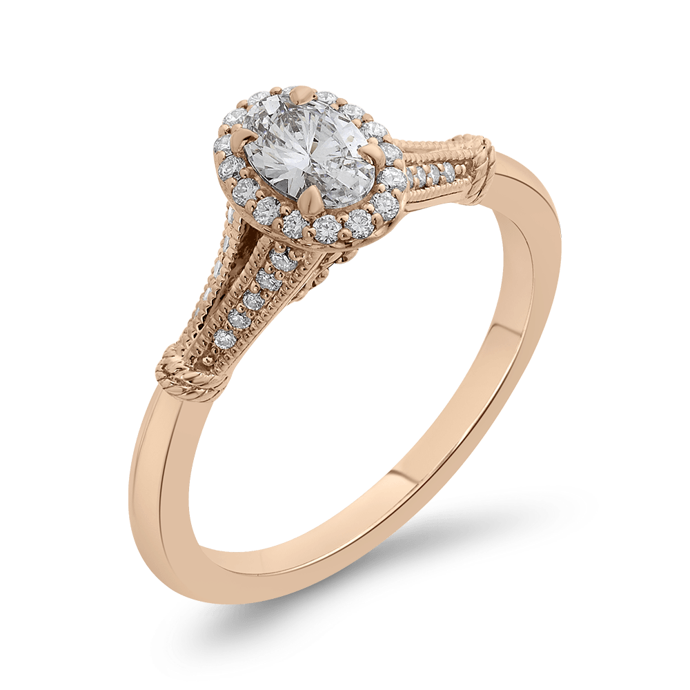 14K Rose Gold Oval Diamond Halo Cathedral Style Engagement Ring with Split Shank|***Complete Ring Engagement Ring PROMEZZA
