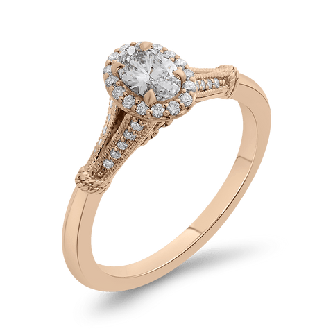 Image of 14K Rose Gold And Diamond Engagement Ring