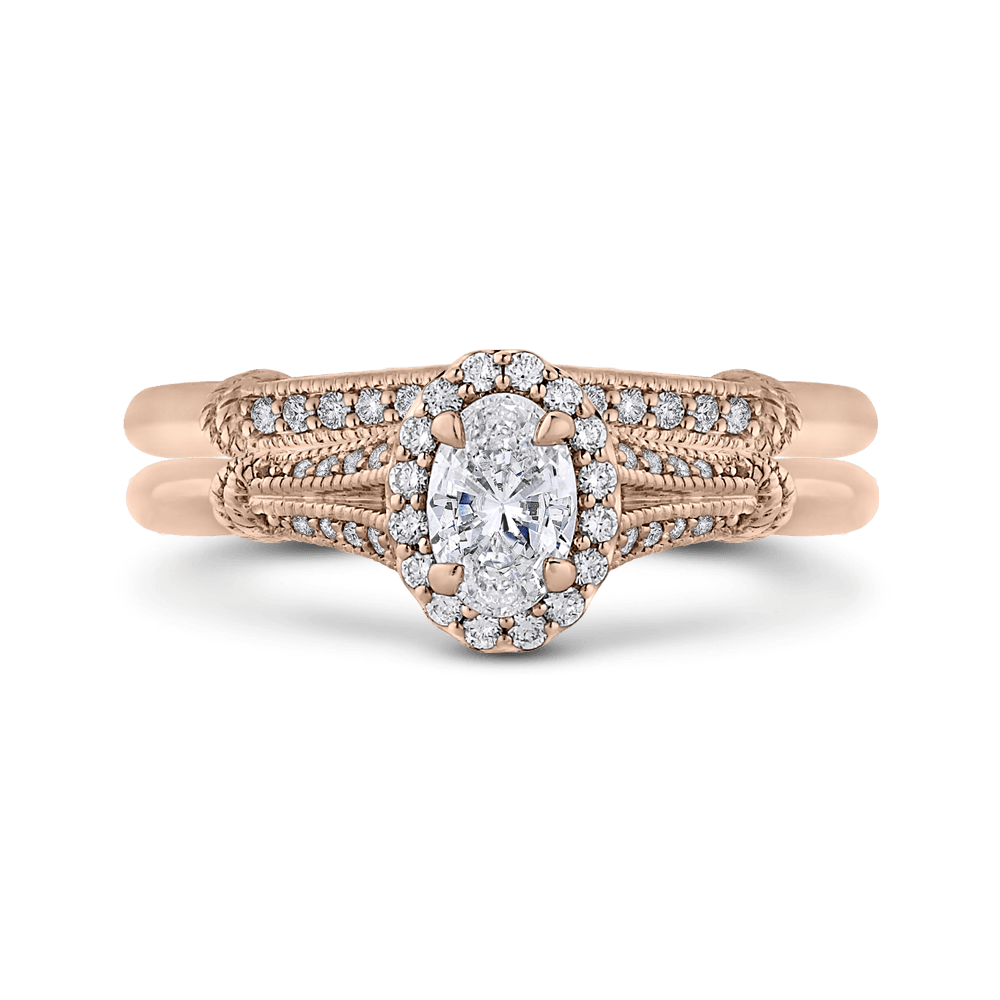 14K Rose Gold And Diamond Engagement Ring