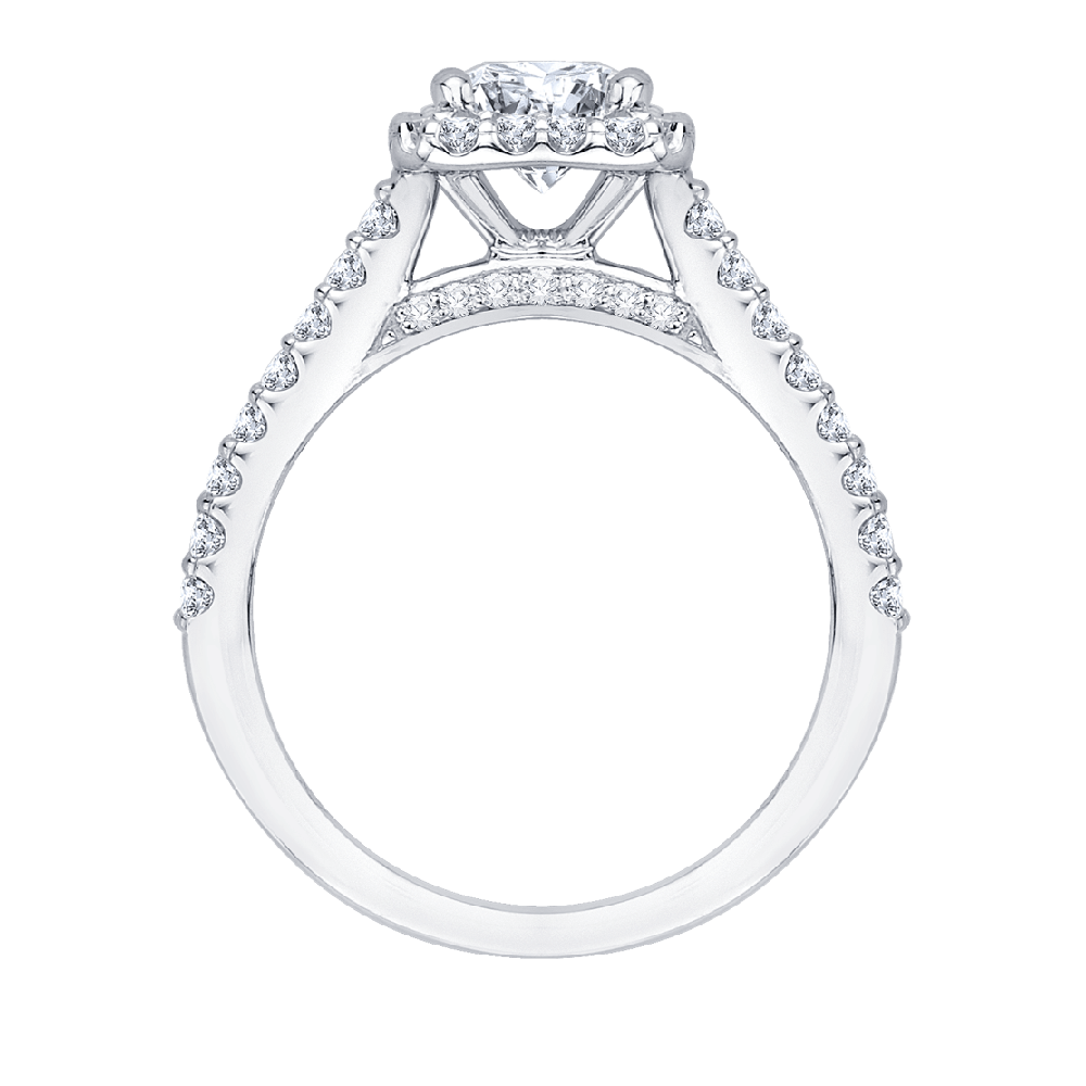 Princess Cut Diamond Halo Engagement Ring with 14K White Gold|***Complete Ring Engagement Ring PROMEZZA
