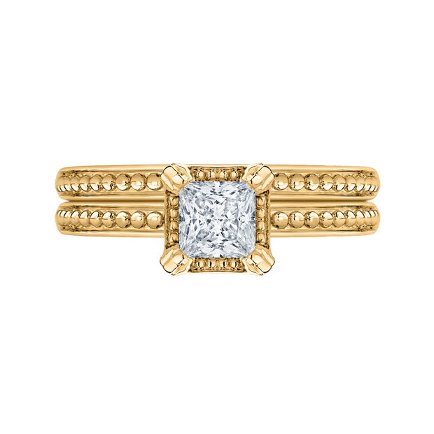 14K Yellow Gold Princess Diamond Solitaire Engament Ring|***Complete Ring Engagement Ring PROMEZZA