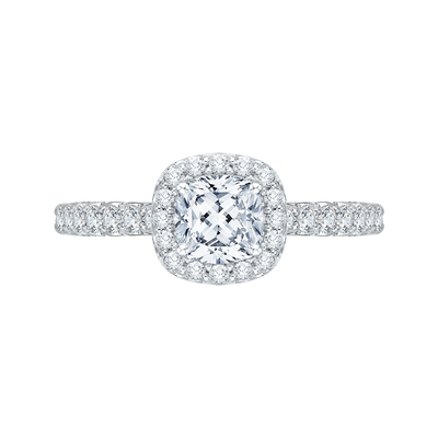 Cushion Diamond Halo Engagement Ring In 14K White Gold|***Complete Ring Engagement Ring PROMEZZA