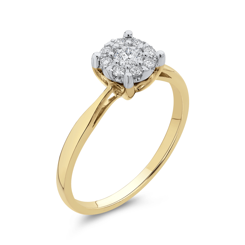 10K Yellow Gold 1/4 Ct Diamond Fashion Ring|***Complete Ring Engagement Ring LUMINOUS