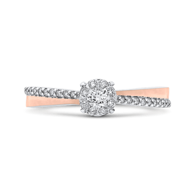 10K White & Rose Gold 1/4 Ct Diamond Fashion Ring|***Complete Ring Engagement Ring LUMINOUS