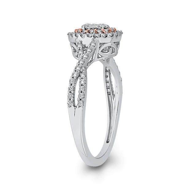 10K White & Rose Gold 1/2 Ct Diamond Fashion Ring|***Complete Ring Engagement Ring LUMINOUS
